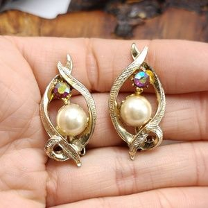 Vintage pearl gold AB iridescent Siam red magenta
